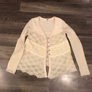 Free People Wool Lace Honeysuckle Years Cardigan